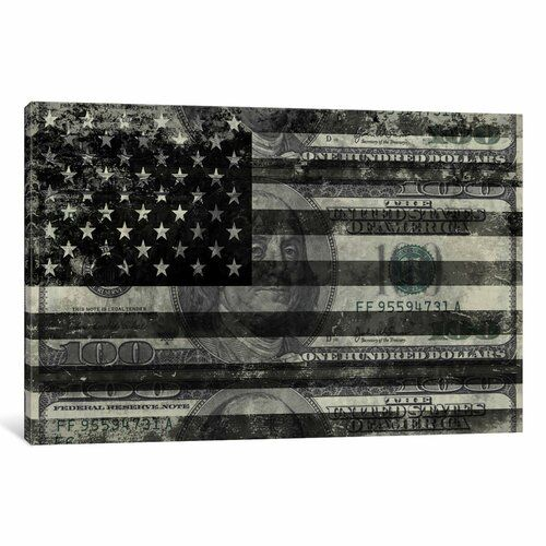 """East Urban Home 'USA """"Melting Film"""" Flag in Black and White (100 Dollar Bill)' Graphic Art on Wrapped Canvas"""