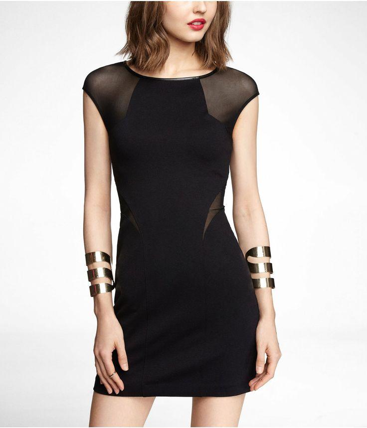 Express tulip hem raglan sleeve dress black
