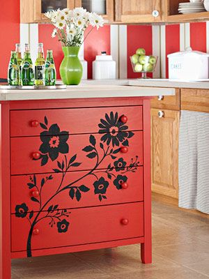 Great idea... Can use an pld dresser/ wash stand and repurpose as kitchen island ! red hot kitchen island painting technique from better homes and gardens