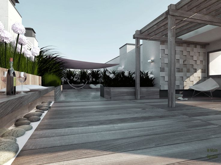 rooftop terrace by W Moim Ogrodzie modern terrace, modern garden design