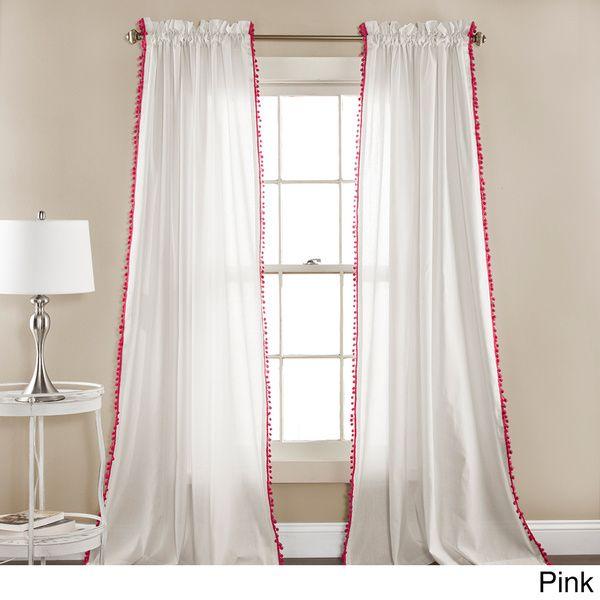 Lush Decor Linen Pom Pom Curtain Panel Pair - Pink pom poms #office