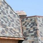 Custom blend slate roof with unfading and semi-weathering slates.