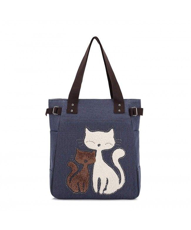 1925939979 Women Canvas Handbag Shoulder Bag Cat Big Tote Bag - Blue - CT12O33LRWF