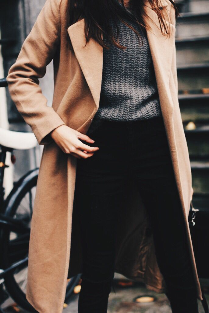 camel wool coat.