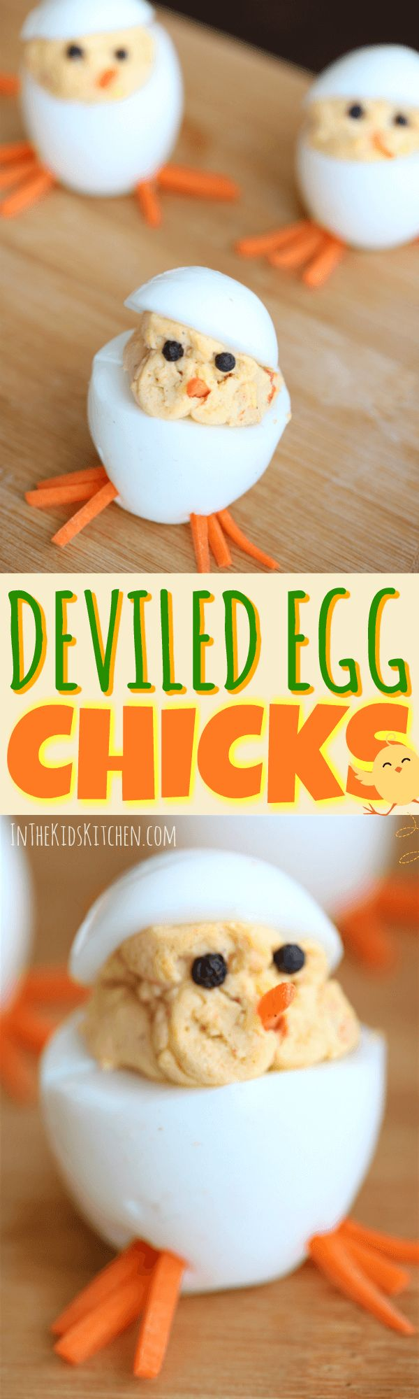 An adorable Easter-themed spin on a favorite party appetizer, these Deviled Eggs Chicks are sure to be a hit with kids and adults alike!
