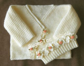 Baby Girl Crochet Pattern Sweater Set  12 months  Tunisian Afghan Stitch - Instant Downloadable PDF Pattern