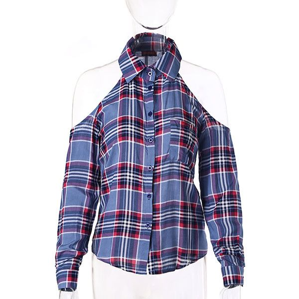 2017 Dioufond Red Plaid Shirt Women Off Shoulder Tops Cotton Blouse Full Sleeve Turn-Down Collar Women Sexy Blusas 4 Colors