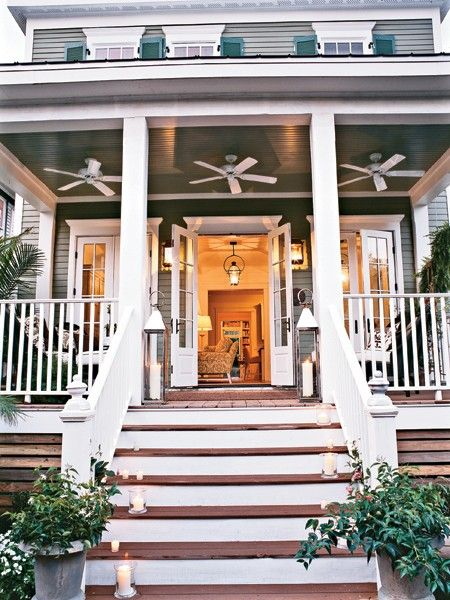 southern dream home.: Idea, Beach House, Southern Porch, Ceiling Fans, Exterior, Dream House, Outdoor, Front Porches