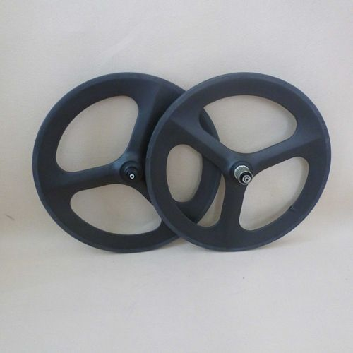 305.00$  Buy now - http://alizc5.worldwells.pw/go.php?t=32393946301 - carbon 3 spoke wheel 700c ruedas carbono Fixed Gear Wheelset bicycle trispoke wheel for road and track Tri spoke  bicycle wheels 305.00$