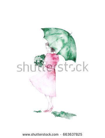 Beautiful girl with umbrella. Girl illustration.  @knyshksenya #illustration #illustrator #ksenyaknysh #watercolor #girl #flowers #nature #illustration #art
