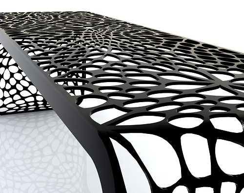 """Coral Bench"" organic pattern - laser cut bended steel"