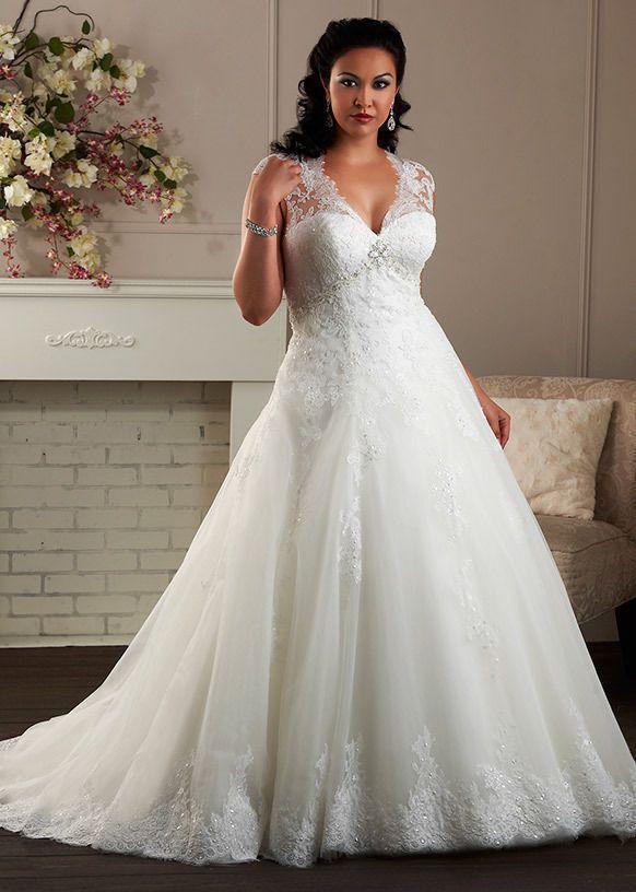 Weiß Elfenbein Spitze Hochzeitskleid Brautkleid Übergröße 40 42 44 46 48 50 52