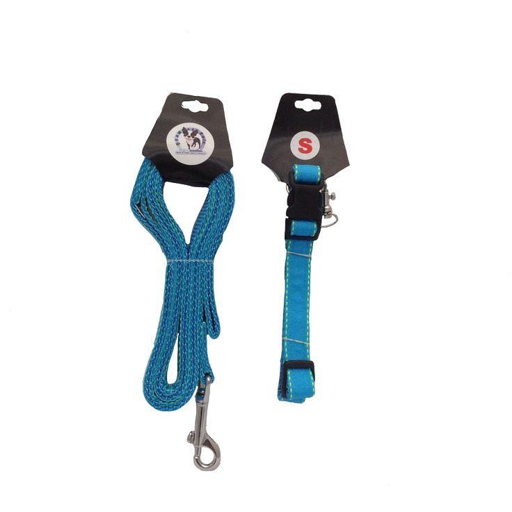 Bella Mae Lime/Blue Lollipop Stripes Adjustable Dog Collar & Leash Combo