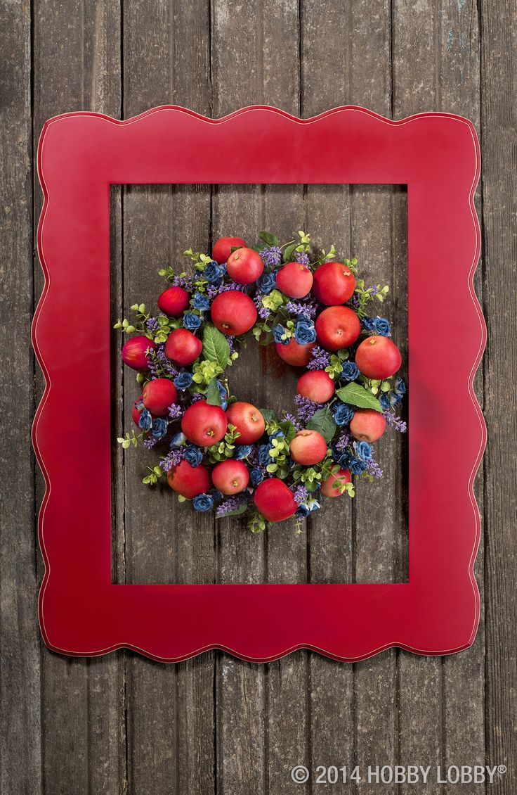 frame a fruity wreath for a fresh new take on christmas decor we paired on the branch apples with mini rosebuds lavender and assorted greenery for this - Wire Wreath Frame Hobby Lobby