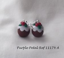 Handcrafted Fun Novelty Fimo Christmas Pudding & Holly Earrings ~ Boxed 11174A