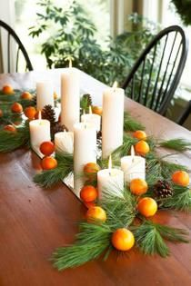 Decorate with found items from nature, such as evergreen and felled pinecones for the winter solstice. Break out the green: At its core, the solstice is a celebration of nature, so use lots of green to remind you of the outdoors—whether in the form of evergreen boughs on the mantle or tabletop, or green napkins accenting the buffet. Decorate the potted Christmas tree this day.