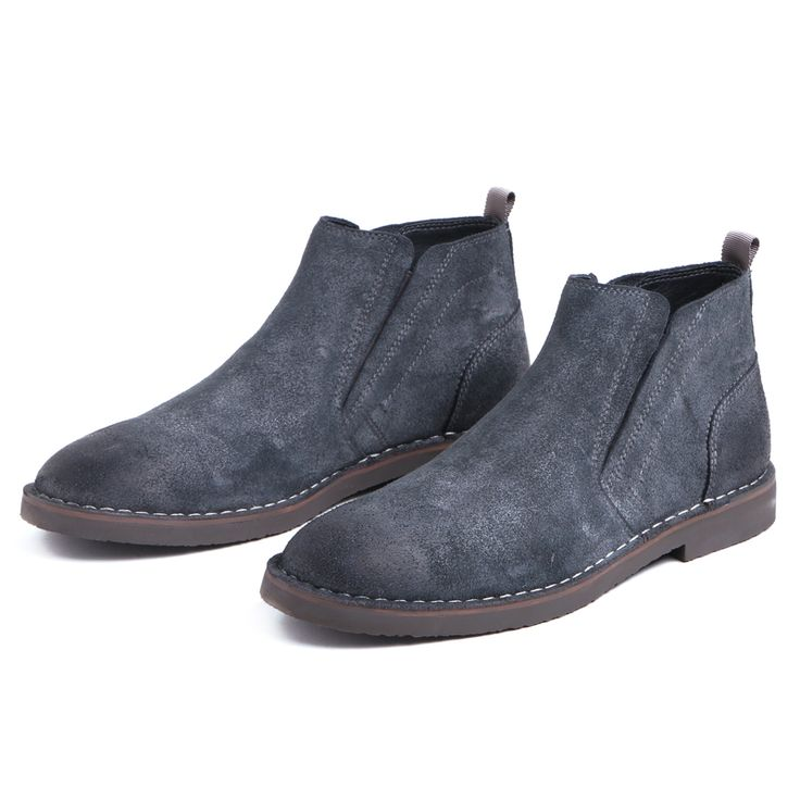 Fashion black / blue autumn flats mens ankle boots nubuck leather boots  mens motorcycle boots outdoor casual shoes
