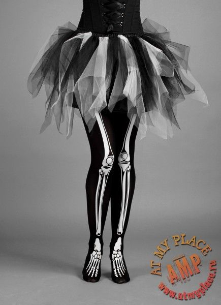 black white skirt tutu and skeleton