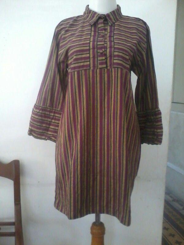 Batik lurik, tunic blouse, size M/L, direct wa 08812775835