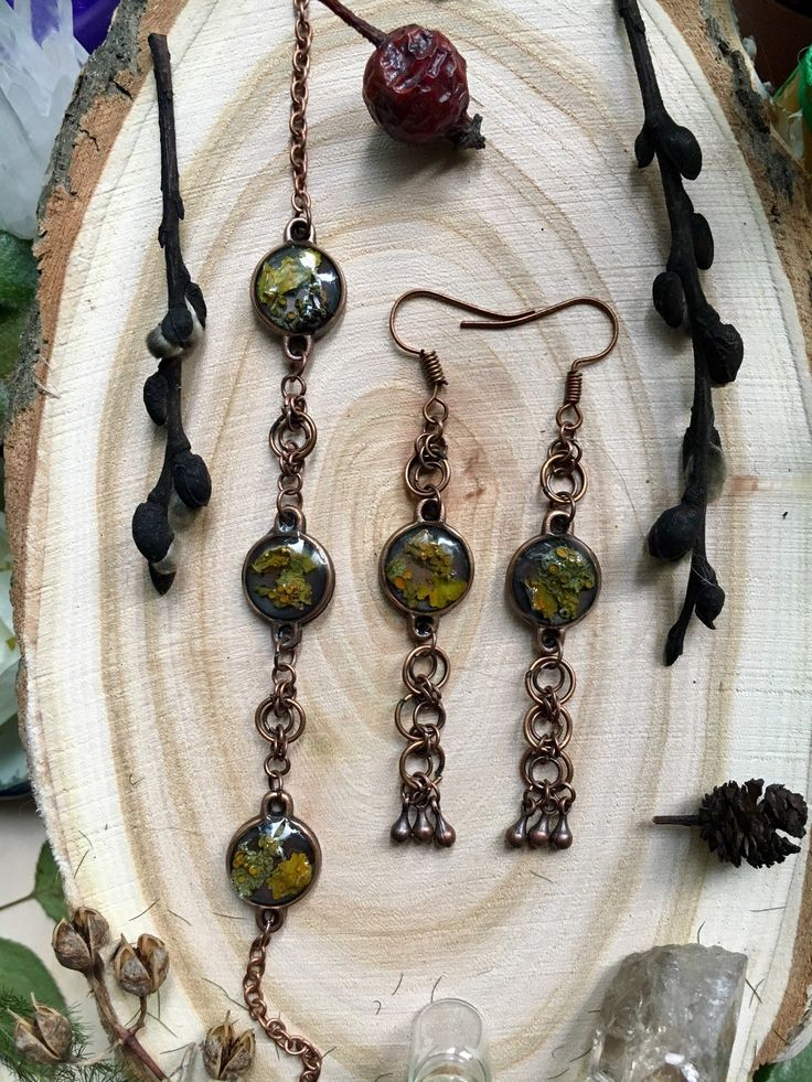 Chainmail weave, Forest jewelry set, Long earrings, Forest braselet