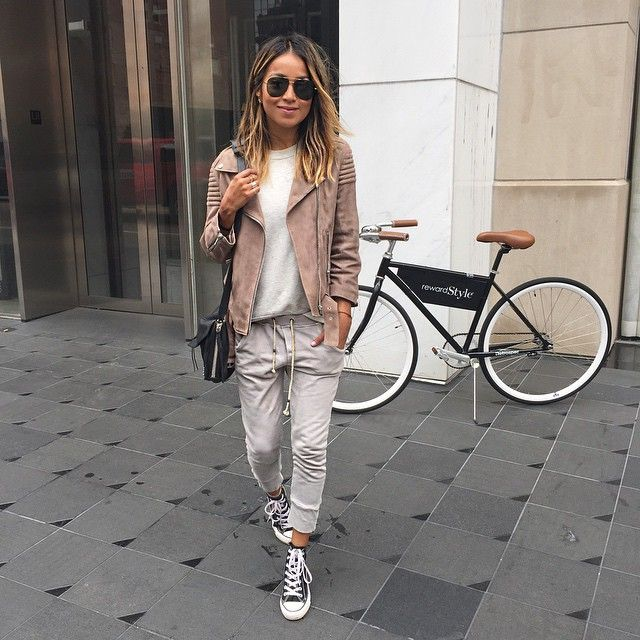 Pin for Later: 100 Easy Outfit Ideas to Try This Spring A Gray Top, Gray Sweatpants, Converse High-Tops, and a Suede Jacket