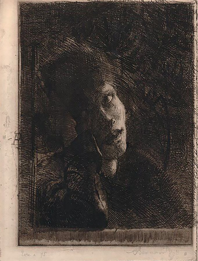 La Muse Accoudée (The Leaning Muse) - Albert Besnard, etching