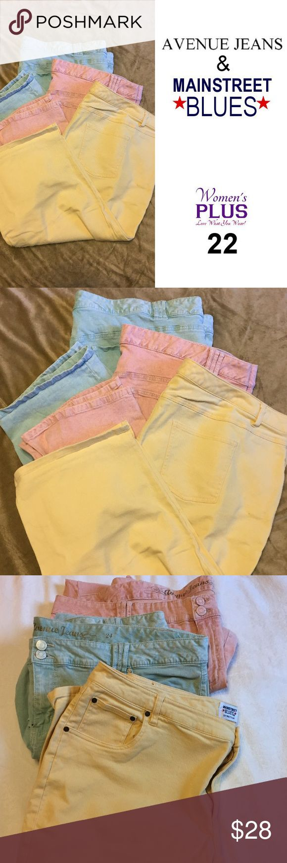 """Capris in Mint, Pink & Yellow (3 pr.) PLUS 24W This is a bundle of all 3 Capris in excellent condition as shown. Women's Size 24. Fun pastel colors of Pink, Mint & Yellow.  Mint and Pink capris are Avenue Jeans. Yellow are Mainstreet Blues.  Approx. Sizes: Mint – Inseam: 20"""", Waist:24.25"""" Pink  – Inseam: 20"""", Waist:23.5"""" Yellow – Inseam: 19"""", Waist:22.5"""" Pants Capris"""