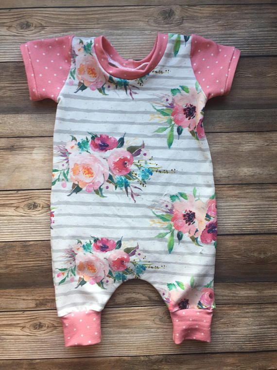 Stripe Floral Coverall Romper, Toddler Romper, Baby Girl Romper, Baby Girl Gift, Newborn Outfit, Baby Outfit, Harem Romper, Girl Romper