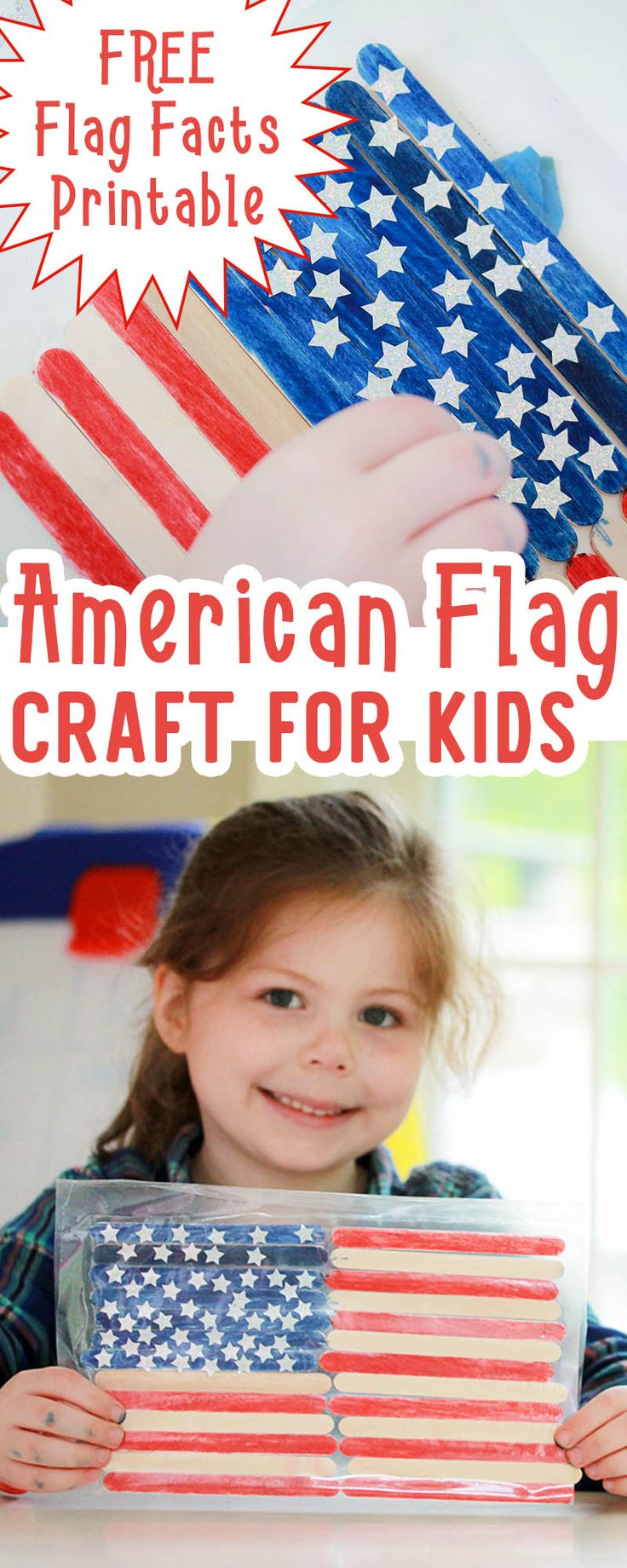 A simple Patriotic craft for kids and history lesson in one! Get the free American Flag for kids printable facts sheet, and using basic craft materials let your kids make their own American flags | US History | July 4th | Flag Day | Crafts for Kids | Preschool | Kindergarten