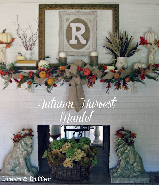 Fall / Autumn Harvest Mantel - Mantle  Dream and Differ