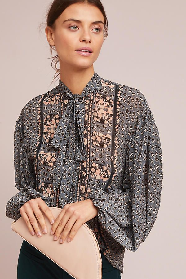 Tracy Reese Printed Tie-Neck Blouse - Anthropologie