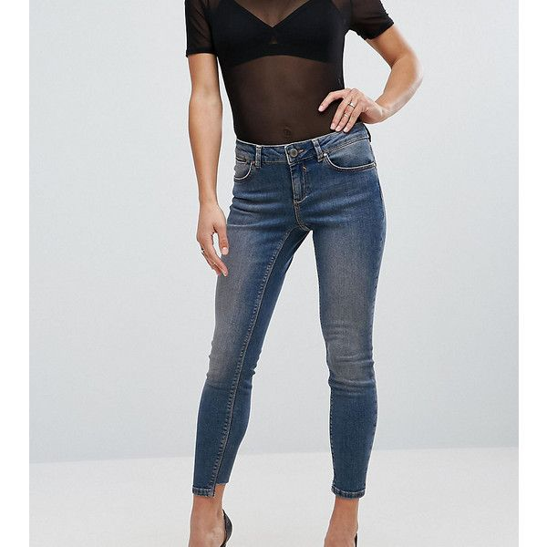 ASOS PETITE WHITBY Skinny Low Rise Jeans in Dita Tinted Mid Wash with... (34 AUD) ❤ liked on Polyvore featuring jeans, blue, petite, asos skinny jeans, asos jeans, raw edge skinny jeans, super low rise skinny jeans and tall jeans
