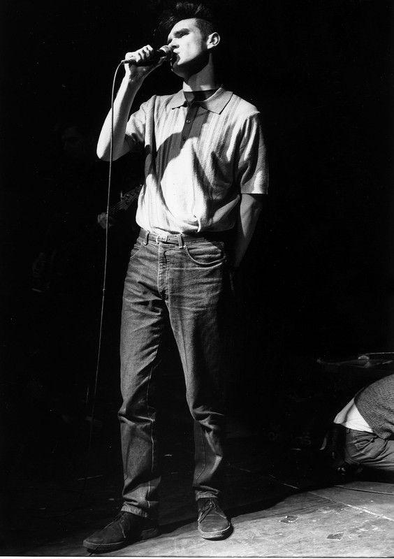 The Smiths pop singer Morrissey singing on stage 1984