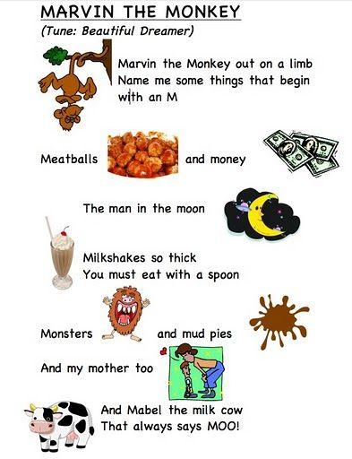 Letter song M (words by Frog Street press)... link... https://docs.google.com/leaf?id=0B8JEqYoVwlm2YzZkNjEyNzUtMDY2Yi00M2FmLTk2MTEtOTM2NTJhMzU2ZmQ0=en_US