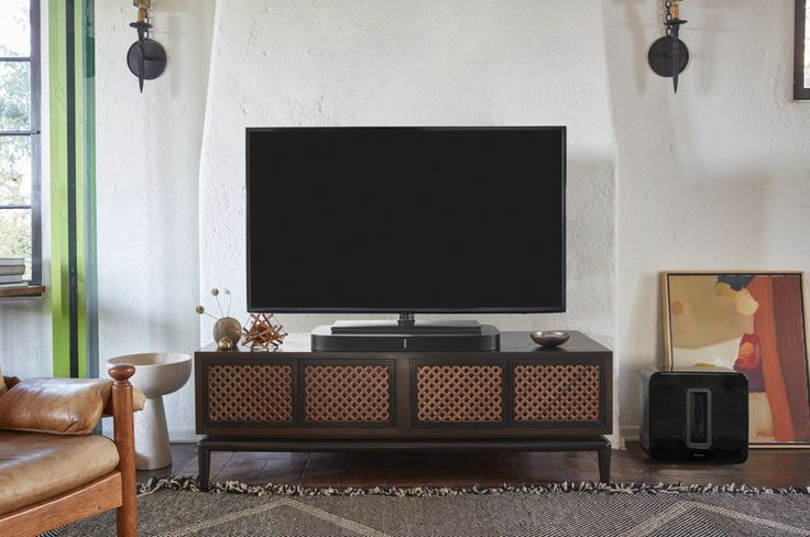 Sonos Playbase (Black) Powered home theater sound system/TV platform/wireless music system with Apple® AirPlay® 2 The Sonos Playbase wireless audio system fits directly under the base of your T.V. With seriously great sound and space saving qualities, it's great for any student! <a class=