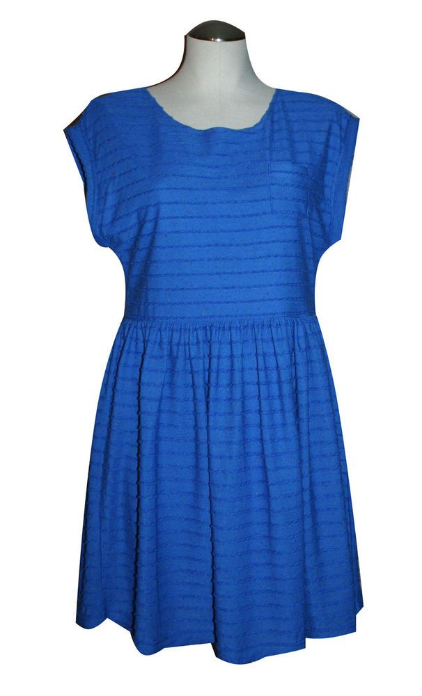 Yumi Dress 6 8 Flecked Jersey Dress Blue Polyester Knee Length Casual Shift #Yumi #Shift #Casual
