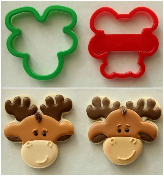 Moose Cookies Using Bear And A Gingerbread Man Cookie Cutter Turned Upside Down
