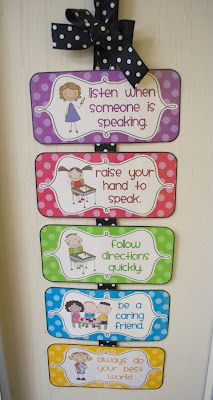 Mrs. Ricca's Kindergarten: Classroom Rules {Freebies} This might be a good way to recognize good behavior. Have kids move there clips when they follow the rules. Much better than moving clips for bad behavior.