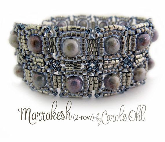 Inspired by Moroccan tiles, this bracelet can be made as a single strand, or combined with other singles to create a dramatic cuff. Materials listed are