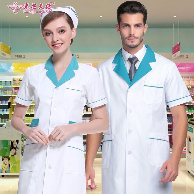 medical clothing Hospital anti-wrinkle and washable nurse clothing long sleeve white men's doctor uniform #Affiliate