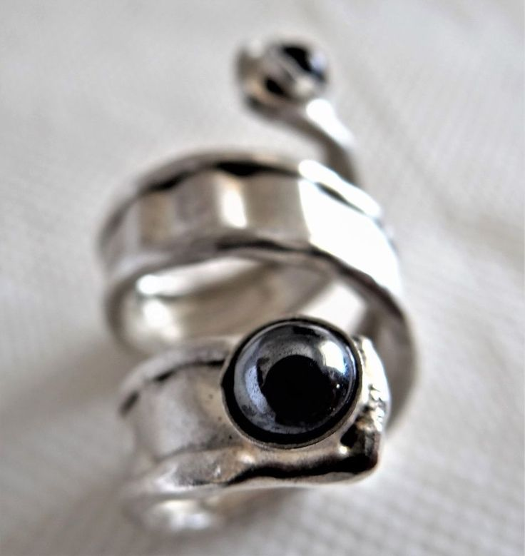 Snake Eyes Sterling Silver Flex Ring Twin Magical Love Energy Gemstones