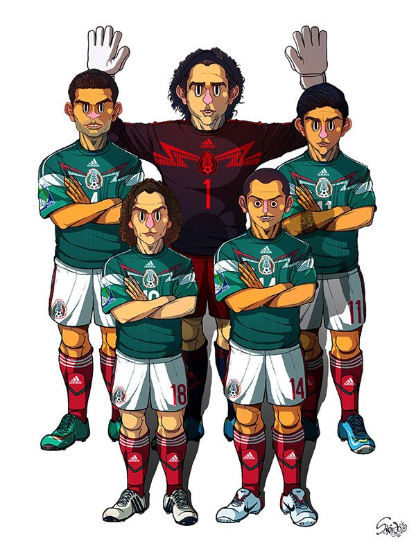 2014 Brazil World Cup 32 teams by Sakiroo Choi, via Behance. Guillermo Ochoa, Rafael Marquez, Alan Pulido, Andres Guardado, Chicharito