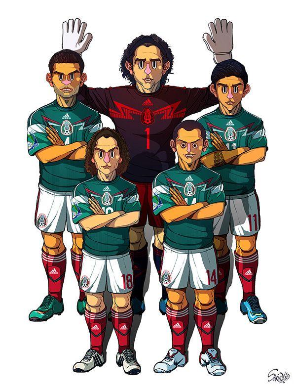 2014 Brazil World Cup 32 teams by Sakiroo Choi, via Behance. Guillermo Ochoa, Rafael Marquez, Alan Pulido, Andres Guardado, Chicharito