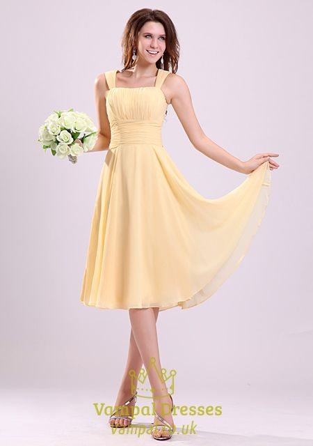 vampal.co.uk Offers High Quality Pale Yellow Bridesmaid Dresses UK,Yellow Chiffon Bridesmaid Dresses With Straps,Priced At Only USD $92.00 (Free Shipping)