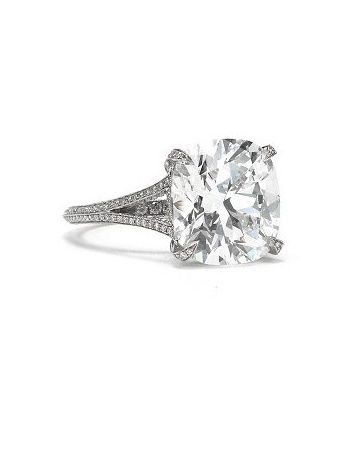 Cushion-Cut Engagement Ring....love simplicity of single stone and detail of band. VINTAGE absolutely number 1❤❤❤❤ THE ONE