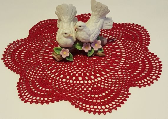Home decor crochet table topper red handmade by ReaRusKraftyKorner
