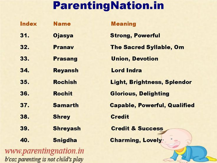 Select Best Name For Your Lovely Baby From The List Of Names Of Unique Baby Boy Names With Meanings. Brought To You By ParentingNation.in.