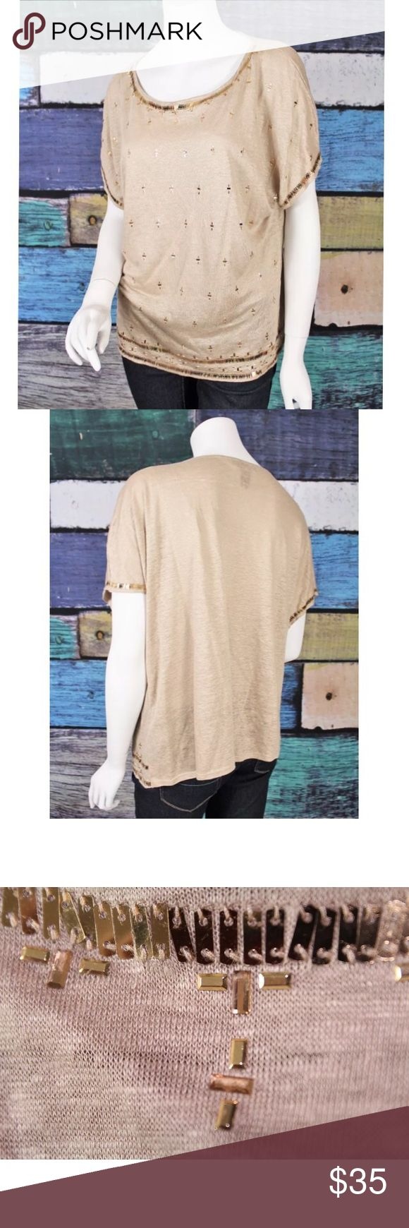 WHBM Tan Gold Linen Embellished Knit Top Large Brand: WHBM Color: Beige Size: Large  Linen Shirt Short Sleeves Pullover Style Embellished Detail *Pants Not Included*  Condition: Clean, gently used pre-owned condition. No holes or stains.   Measurements Length: 25 inches Chest: 46 inches  Sleeve Length: 10 inches Tops Blouses