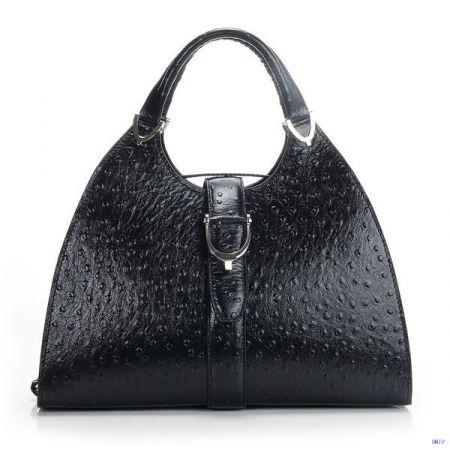 Gucci Stirrup Ostrich Leather Top Handle Bag Black