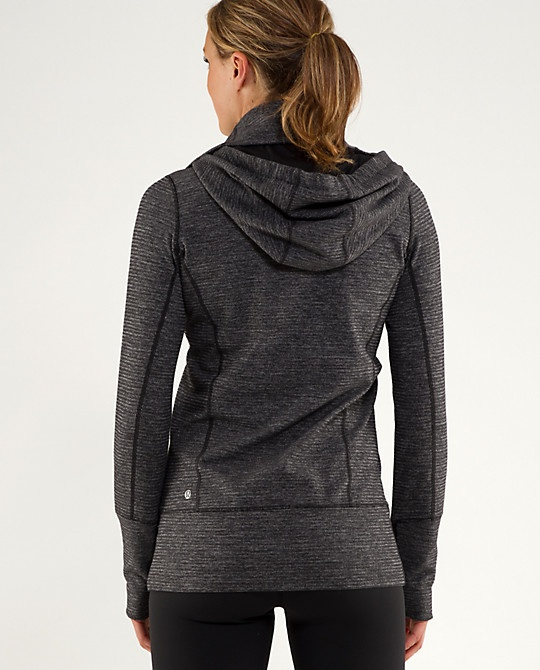 lululemon jacket. Grey works well w other colors, long length is comfortable and flattering.  Check on the hoodie!